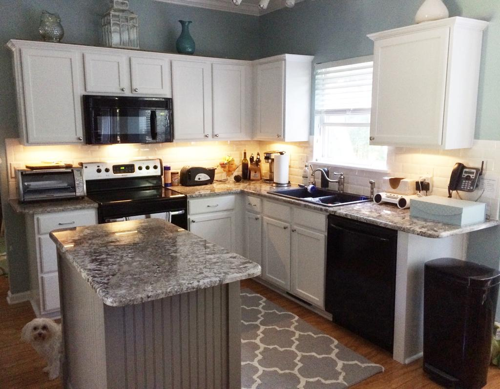 Pure White Cabinets With Dovetail Gray Island 2 Cabinet