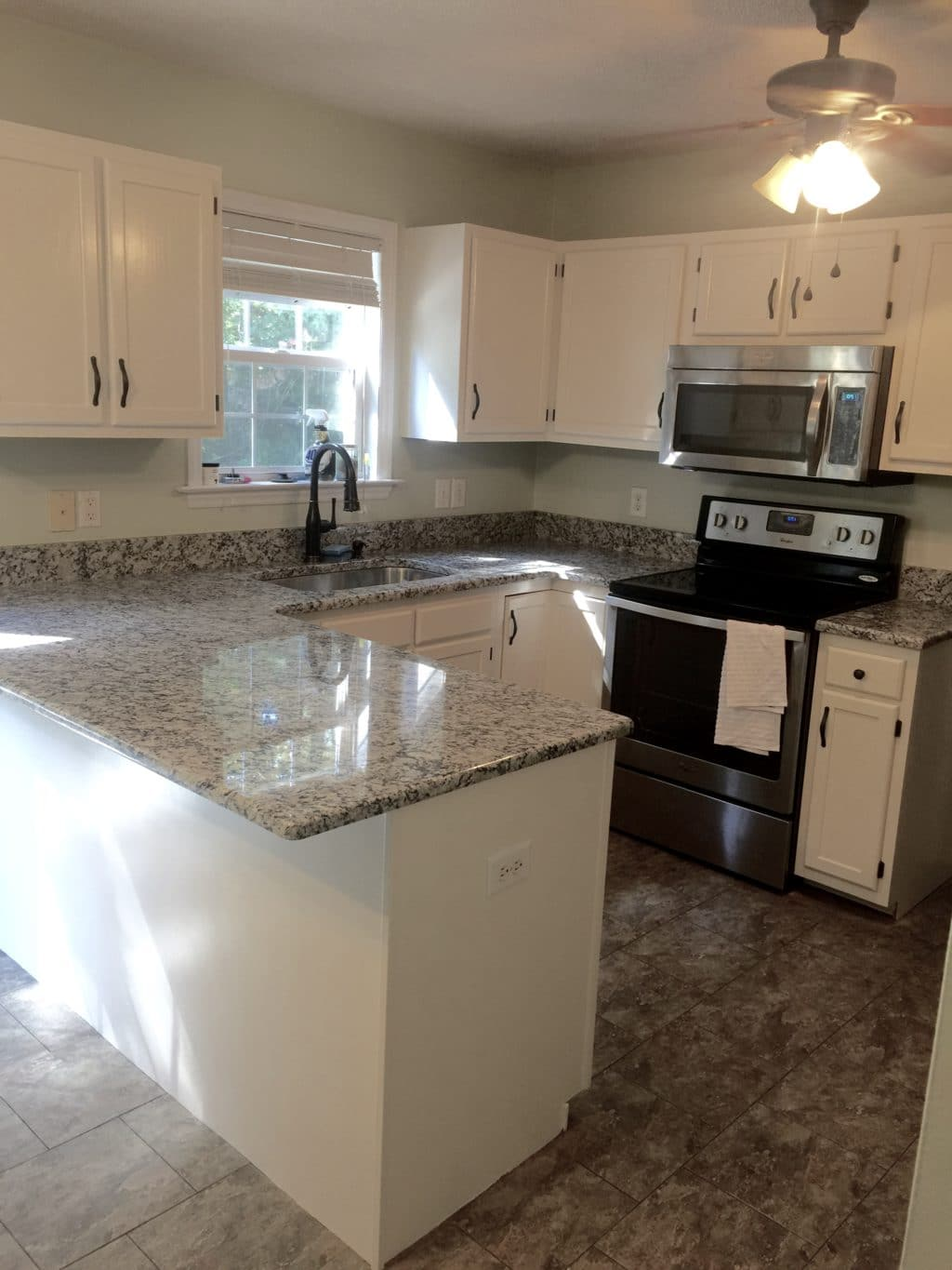 White wood cabinets