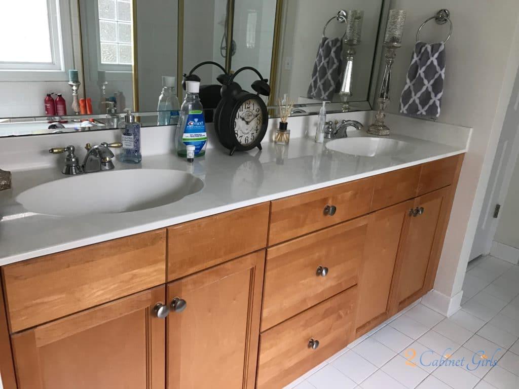 Pigeon Gray Bath Vanity 2 Cabinet Girls