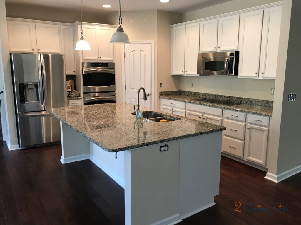 They Chose Benjamin Moore Silver Satin To Brighten Up The Cabinets Help Them Blend In