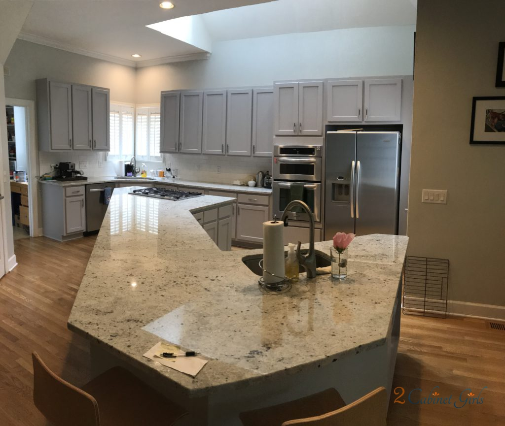 Kitchen Cabinets And Island Painted Essential Shade In Camden Forest Neighborhood In Cary, NC