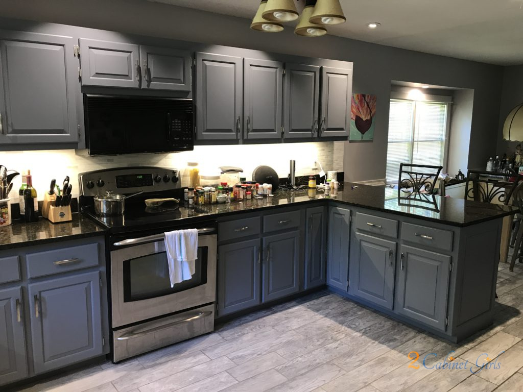 Kitchen Cabinets Painted Serious Gray In Millers Creek