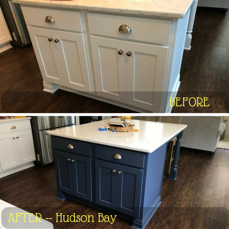 Kitchen Island And Bathroom Vanity Painted Hudson Bay Blue