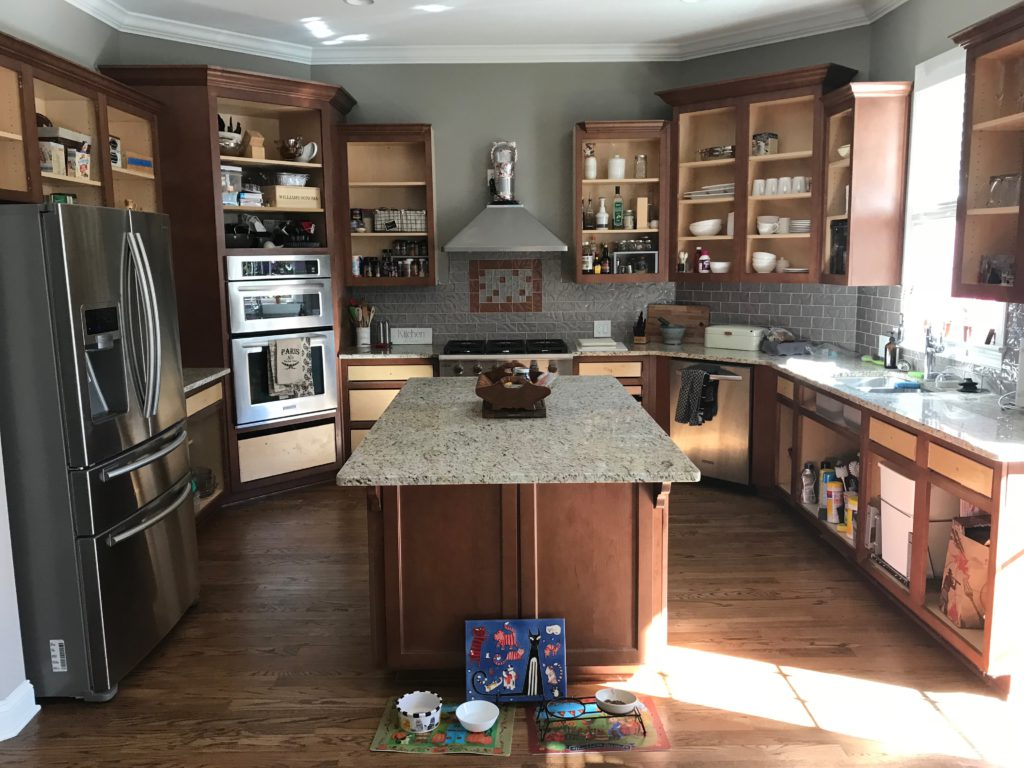 Kitchen cabinet doors removed