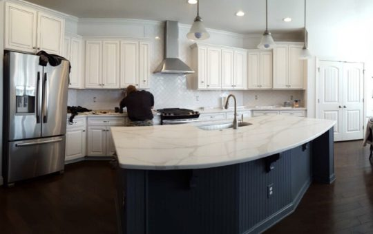 Super White Kitchen & Wallstreet Island