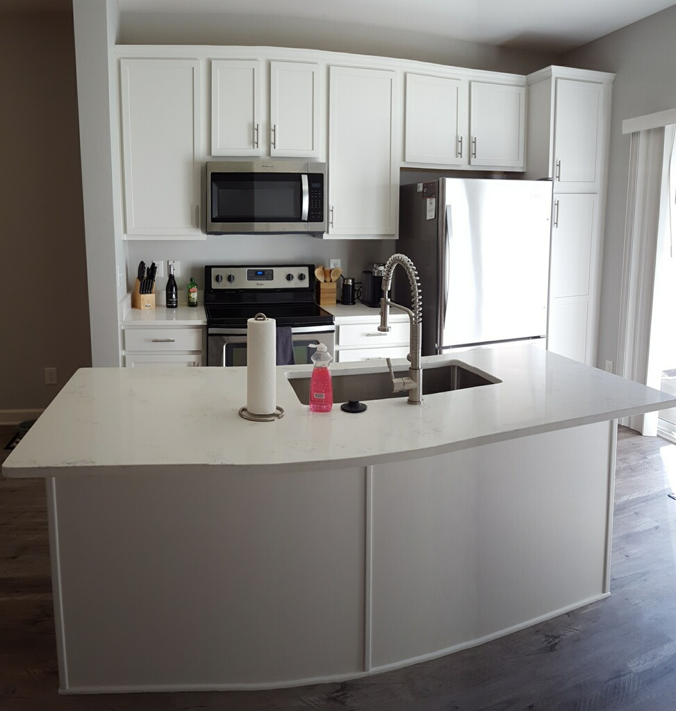 Can White Kitchen Cabinets Be Repainted: Zurich White Condo Kitchen