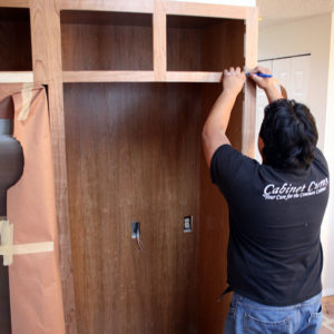 attaching wood veneer to kitchen cabinets