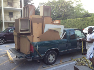 Hauling cabinets in pickup truck